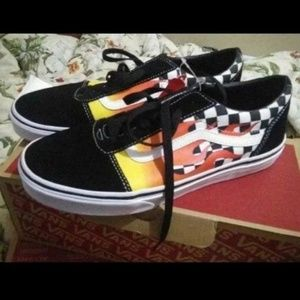 Vans old skool flame Checkeredboard shoes W8.5
